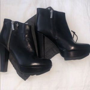 Black Leather High Heeled Ankle Boots